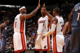 Charlotte Bobcats v Miami Heat: LeBron James, Chris Bosh and Dwyane Wade