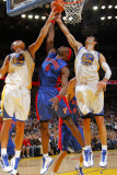 Detroit Pistons v Golden State Warriors: Andris Biedrins, Vladimir Radmanovic and Ben Wallace