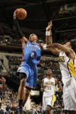 Oklahoma City Thunder v Indiana Pacers: Russell Westbrook, Brandon Rush and Roy Hibbert