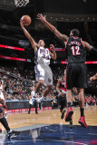 Portland Trail Blazers v New Jersey Nets: Devin Harris and LaMarcus Aldridge