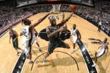 Milwaukee Bucks v San Antonio Spurs: Chris Douglas-Roberts and Tim Duncan Photographic Print