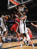 Portland Trail Blazers v San Antonio Spurs: Wesley Matthews, George Hill and Tim Duncan