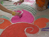 Drawings Made with Powder are Designed on the Floor for Diwali