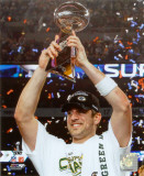 Aaron Rodgers Celebrating with Lombardi Trophy after winning Super Bowl XLV