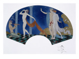 Fan Design with Classical Image of Pan Playing the Pan-Pipes and a Dancer and Couple in a Wood