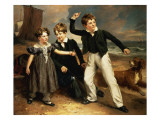 A Group Portrait of Robert, James and Mary Sarah, the Three Children of James Greenhalgh, 1830