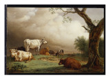 Buy Cattle in a Field, with Travellers in a Wagon on a Track Beyond and a Church Tower in the Distance at AllPosters.com