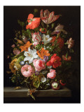 Still Life of Roses, Lilies, Tulips and Other Flowers in a Glass Vase with a Brindled Beauty