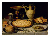 Still Life with a Tart, Roast Chicken, Bread, Rice and Olives