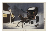 Snowy Evening at Honcho Street, a Horse-Drawn Carriage in the Snow