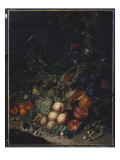 Peaches, Grapes, Pomegranates, Melons, a Corncob, Apricots, Plums, Pears, Acorns, 1718