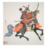 Samurai of Old Japan Armed with Bow and Arrows