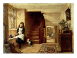 An Interior with a Girl Playing with Cats