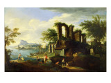 An Italian Coastal Landscape with Fisherfolk Giclee Print