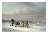 Huntsmen in Horsedrawn Sleigh
