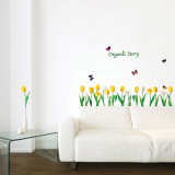 Tulips and Butterflies Organic Story Wall Decal