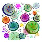 Smileys, émoticônes souriantes, en train de flotter