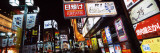 Commercial Signboards Lit Up at Night in a Market, Shinjuku Ward, Tokyo Prefecture, Japan