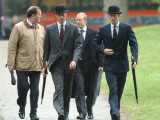 Prince William & Prince Harry wearing tie and traditional bowler hat, attending the Combined Cavalr