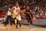Los Angeles Lakers v Miami Heat, Miami, FL - March 10: Dwyane Wade and Kobe Bryant