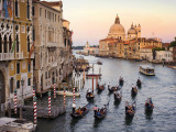 Buy Flotilla of Gondolas Heading Toward Chiesa Di Santa Maria Della Salute in Early Evening at AllPosters.com