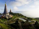 Phra Mahathat Naphamethanidon Twin Royal Stupas on the Way to the Summit of Doi Inthanon