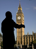 Statue of Nelson Mandela and Big Ben, Parliament Square