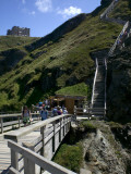 Steep Wooden Steps Up to Tintagel Castle.