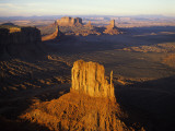 Aerial Overlook of West Mitten Butte in Monument Valley at Sunset