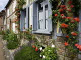 Roses and Flowers and Half-Timbered Houses Along Rue Du Logis Du Roy Photographic Print