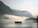 Two Fishermen in Boat on Lake Bohinj (Bohinjsko Jezero)