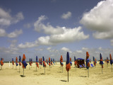 Red and Blue Beach Umbrellas on Deauville Beach Photographic Print