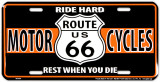 Route 66 Biker Tin Sign