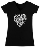 Juniors: V-Neck-  Love Heart in Cursive Script