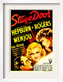 Stage Door, Adolphe Menjou, Ginger Rogers, Katharine Hepburn on Midget Window Card, 1937