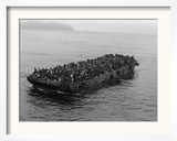 A Barge Packed with Vietnamese Refugees from Danang is Towed to the Ss Pioneer Contender