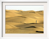 A Visitor Stands on Sand Dune in the Taklimakan Desert Framed Photographic Print