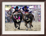 Jockeys Race in the 133 Rd Annual Traditional Water Buffalo Race in Chonburi Province, Thailand