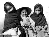 Portrait of Three Smiling Children, Sitting Together, Mexico