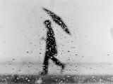 Silhouette of Man Carrying an Umbrella, Walking in the Rain
