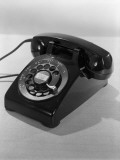 Rotary Dial Black Telephone, For Communication