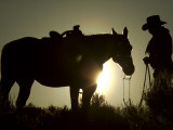 Cowboy With His Horse at Sunset, Ponderosa Ranch, Oregon, USA Photographic Print
