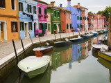 Colorful Burano City Homes Reflecting in the Canal, Italy