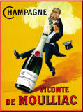 Champagne Vicomte De Moulliac Tin Sign