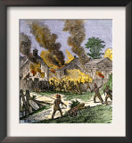 Village of Brookfield, Massachusetts, Burned by Native Americans during King Phillips War, c.1675