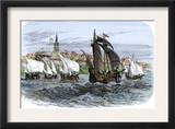 Cartier's Ships Leaving St. Malo, France, to Sail for North America, c.1530