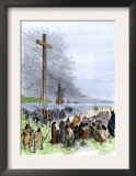 Jacques Cartier Erects a Cross Along the Saint Lawrence River, Claiming Quebec for France, c.1534