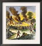 Burning of Deerfield, Massachusetts, during an Indian Attack, c.1704