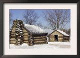 Continental Army Soldiers' Cabins Reconstructed at Valley Forge Winter Camp, Pennsylvania