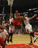Atlanta Hawks v Chicago Bulls - Game Two, Chicago, IL - MAY 04: Jeff Teague, Loul Deng, Joakim Noah Photographic Print
